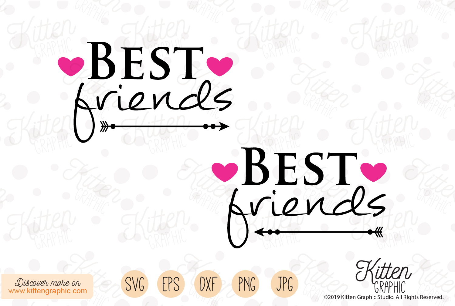 Download Free Best Friends Graphic By Kittengraphicstudio Creative Fabrica for Cricut Explore, Silhouette and other cutting machines.