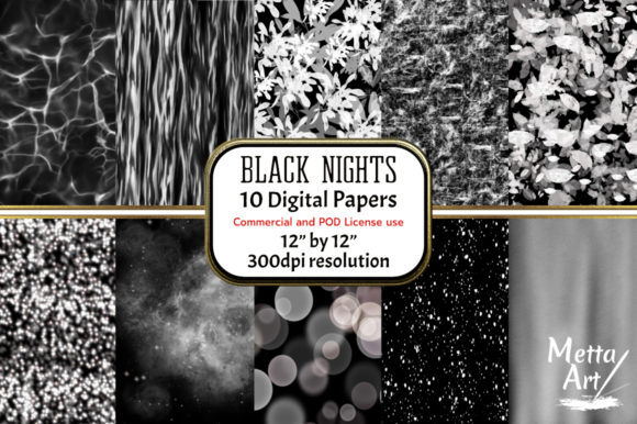 Print on Demand: Black Nights - Set of 10 Graphic Backgrounds By Metta Art UK