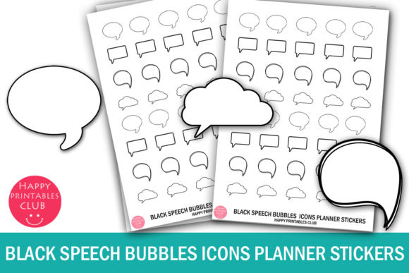 Print on Demand: Black White Speech Bubbles Icons Planner Graphic Crafts By Happy Printables Club