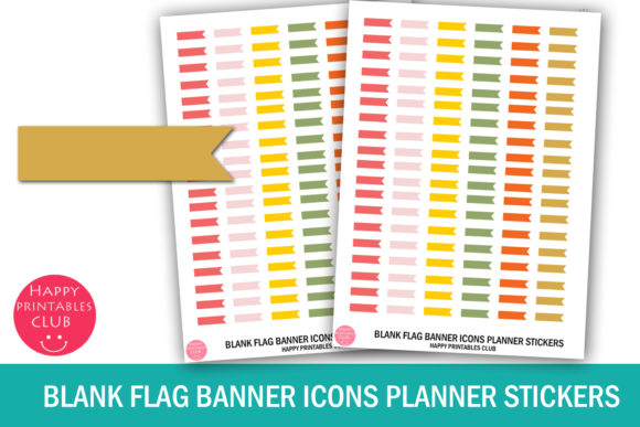 Print on Demand: Blank Flag Banner Icons Planner Stickers Graphic Crafts By Happy Printables Club
