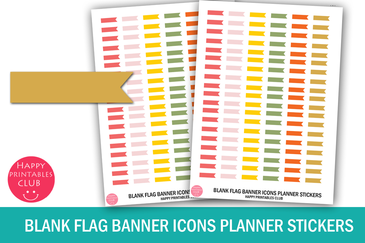 Download Free Blank Flag Banner Icons Planner Stickers Grafik Von Happy for Cricut Explore, Silhouette and other cutting machines.