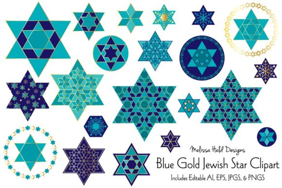 Blue Gold Jewish Star Clipart Graphic Icons By Melissa Held Designs