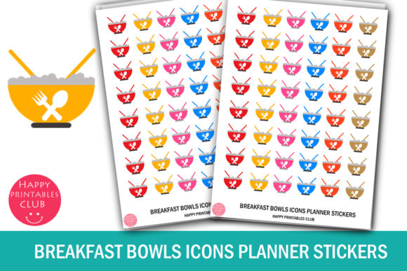 Print on Demand: Breakfast Bowls Icons Planner Stickers Graphic Crafts By Happy Printables Club