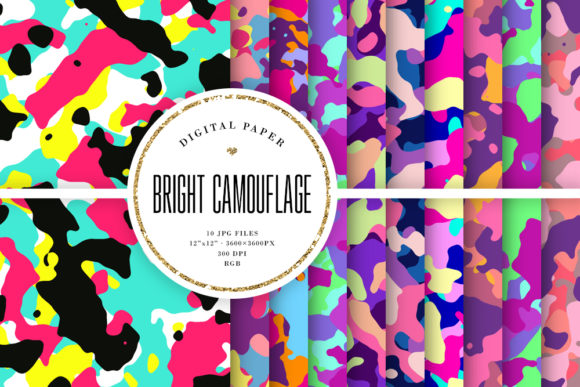 Print on Demand: Bright Camouflage - Colorful Camo Graphic Backgrounds By Sabina Leja