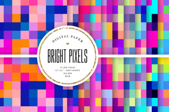 Print on Demand: Bright Pixel Backgrounds, Mosaic Pattern Graphic Backgrounds By Sabina Leja