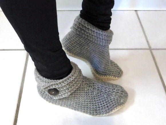 Buttoned Up Women's Slippers Graphic Crochet Patterns By Knit and Crochet Ever After