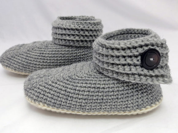 Buttoned Up Women's Slippers Graphic Crochet Patterns By Knit and Crochet Ever After - Image 3