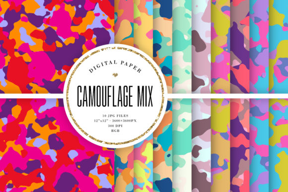 Camouflage Digital Paper - Camo Mix Graphic Backgrounds By Sabina Leja