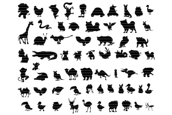 Print on Demand: Cartoon Animals Silhouette Bundle Graphic Crafts By MeshaArts