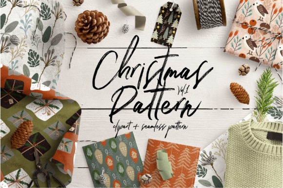 Print on Demand: Christmas Pattern Gráfico Patterns Por Caoca Studio