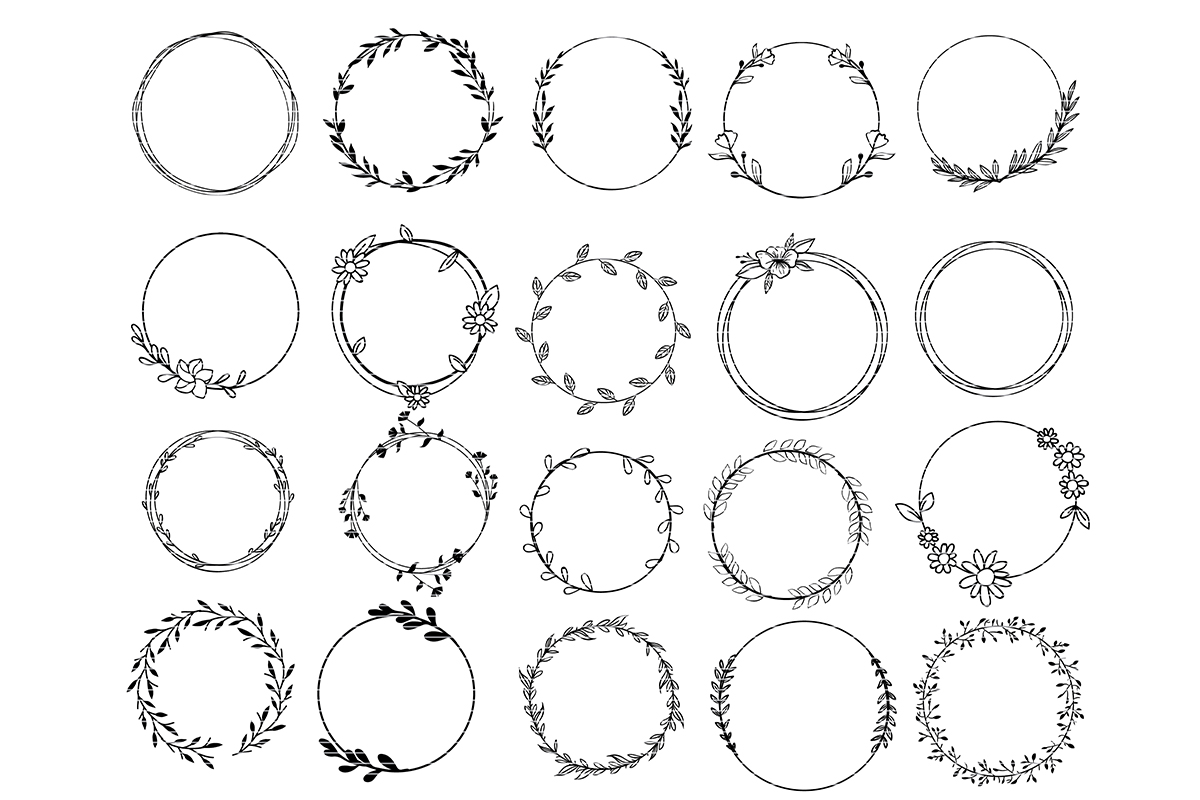 Download Free Circle Monogram Frame Clip Art Bundle Graphic By Meshaarts for Cricut Explore, Silhouette and other cutting machines.