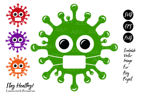 Print on Demand: Cute Virus, Virus Vector Graphic Illustrations By adlydigital