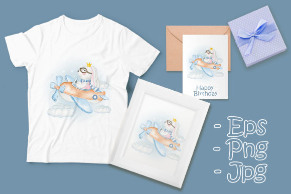 Print on Demand: Cute Bunny Girl on a Plane Watercolor Graphic Illustrations By OrchidArt