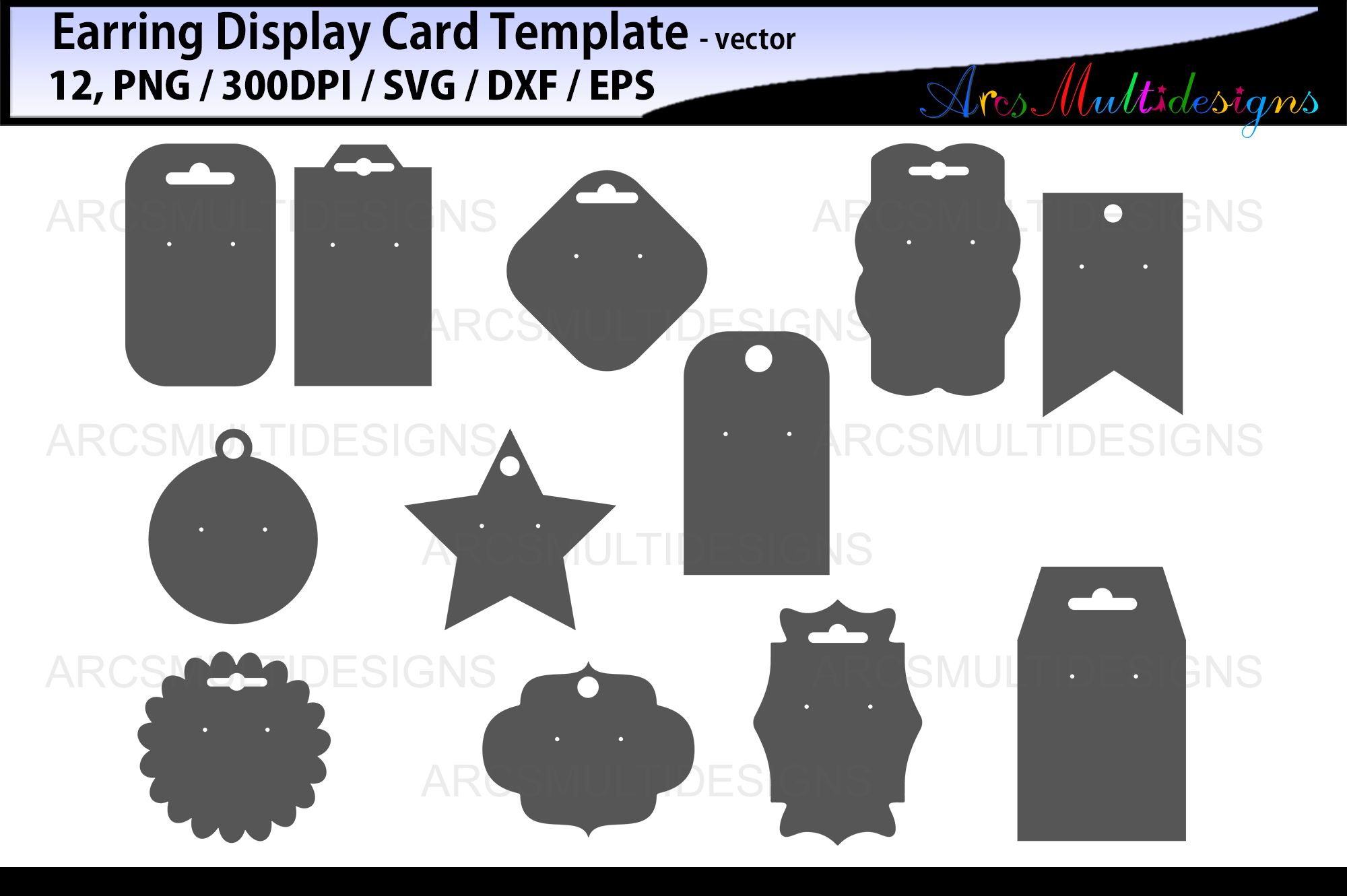 Download Free Earring Display Cards Template Graphic By Arcs Multidesigns for Cricut Explore, Silhouette and other cutting machines.