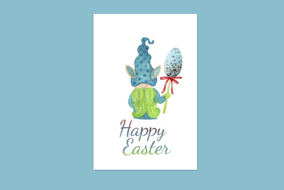 Print on Demand: Easter Card with Cute Easter Bunny Gnome Graphic Illustrations By s.yanyeva