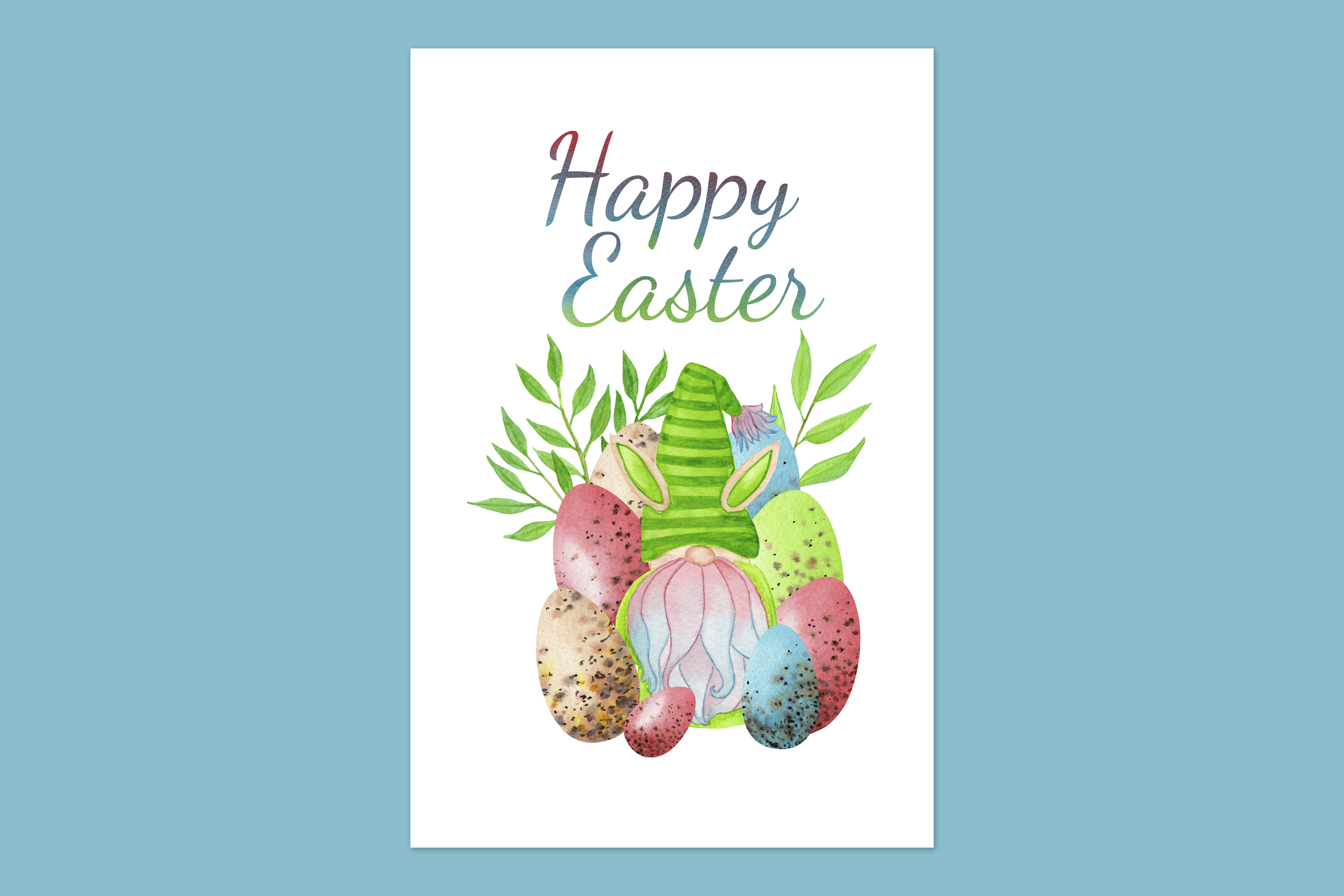 Download Free Easter Card With Easter Bunny Gnome Graphic By S Yanyeva for Cricut Explore, Silhouette and other cutting machines.