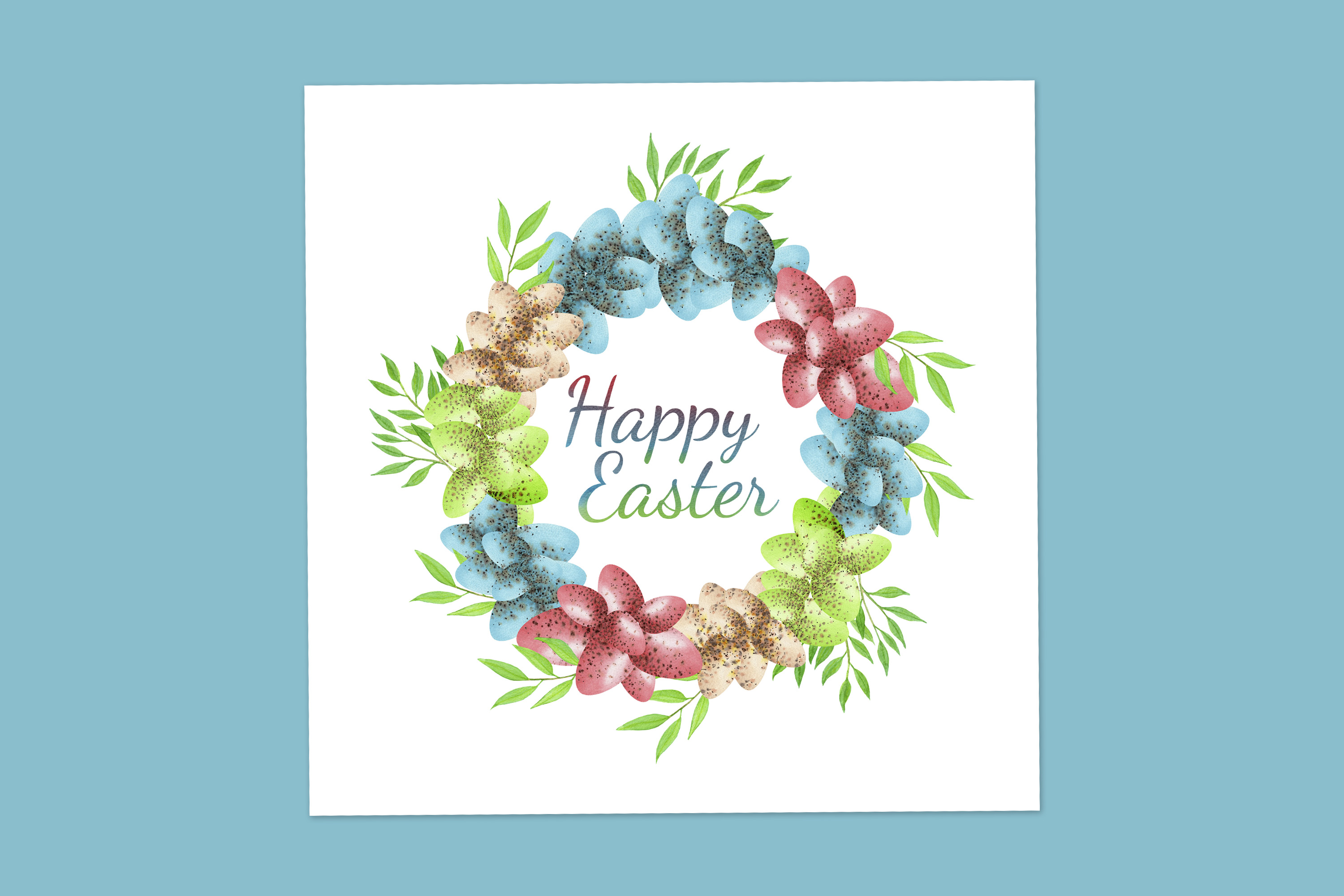 Download Free Easter Card With Easter Eggs Wreath Graphic By S Yanyeva for Cricut Explore, Silhouette and other cutting machines.