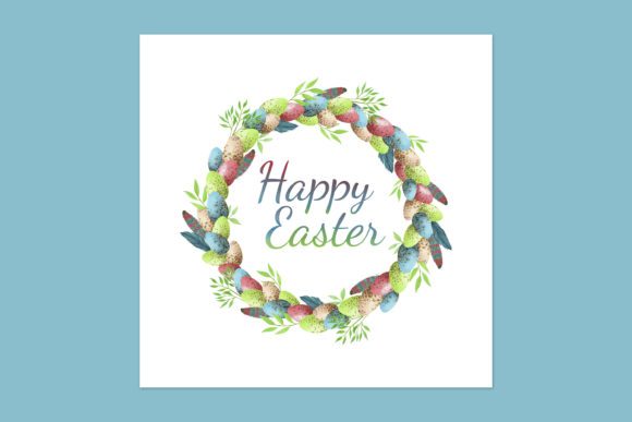 Print on Demand: Easter Card with Rainbow Easter Wreath Graphic Illustrations By s.yanyeva