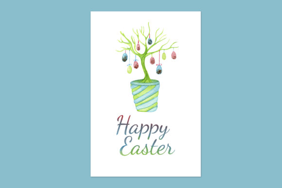Print on Demand: Easter Greeting Card with Easter Tree Graphic Illustrations By s.yanyeva