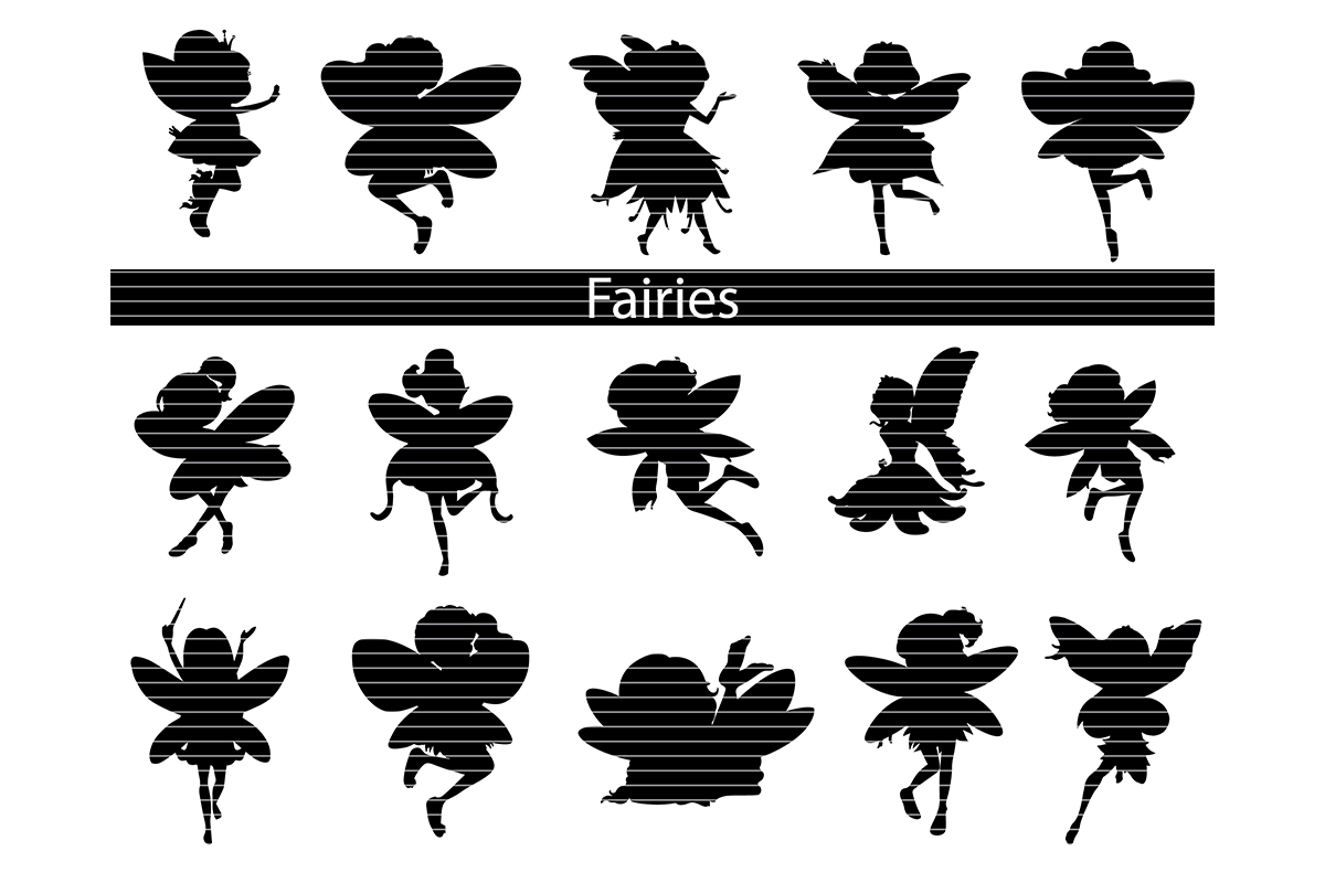 Download Free Fairies Silhouette Clip Art Bundle Graphic By Meshaarts SVG Cut Files