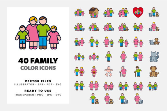 Download Free Family Color Icon Set Graphic By Borisfarias Creative Fabrica for Cricut Explore, Silhouette and other cutting machines.
