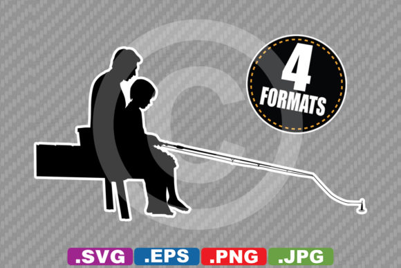 Download Free Father Son Fishing Silhouette Graphic By Idrawsilhouettes for Cricut Explore, Silhouette and other cutting machines.