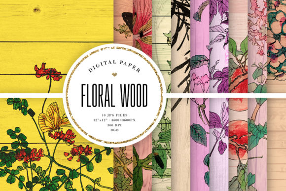 Floral Colorful Wood Digital Paper Graphic Backgrounds By Sabina Leja
