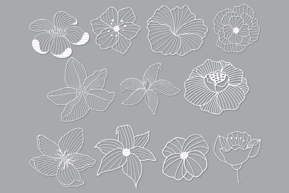 Print on Demand: Flower Cut File Bundle Graphic Crafts By MeshaArts