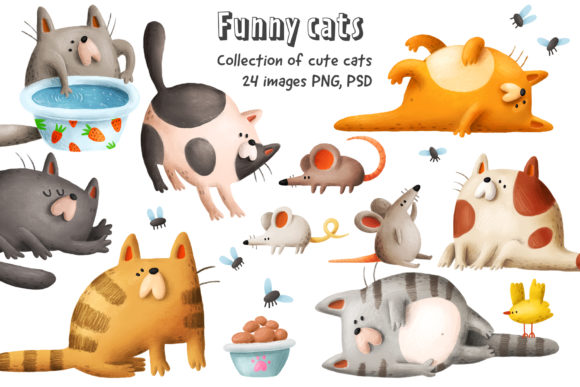 Print on Demand: Funny Cats Graphic Illustrations By Architekt_AT - Image 1