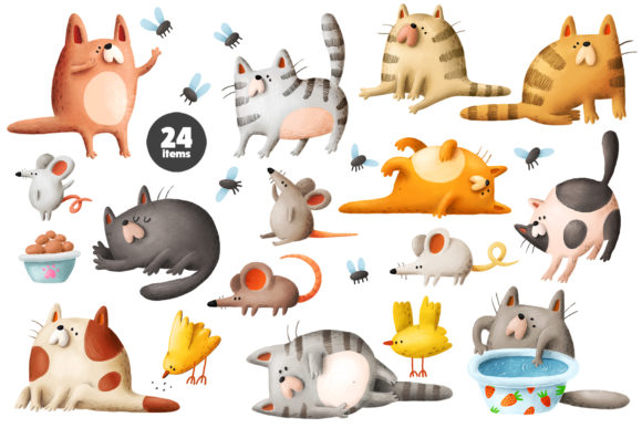 Print on Demand: Funny Cats Graphic Illustrations By Architekt_AT - Image 3