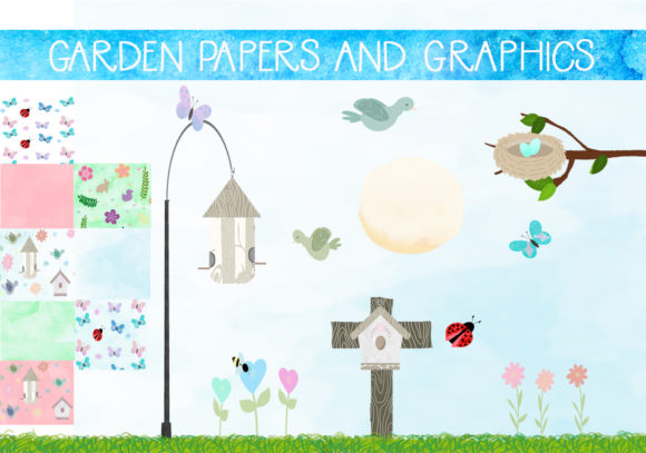 Print on Demand: Garden Illustrations and Papers Set Graphic Illustrations By capeairforce