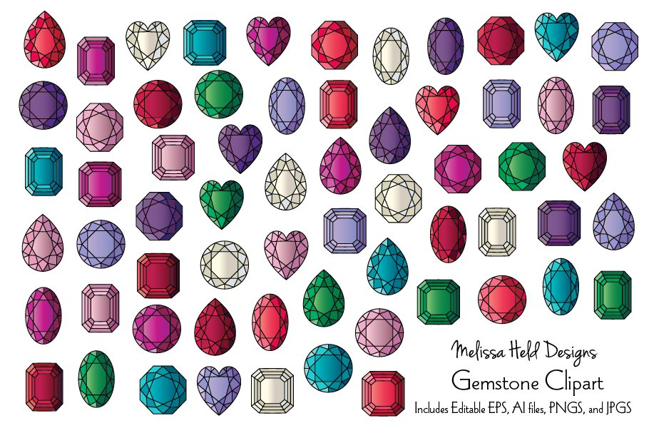 Download Free Gemstone Vector Clipart Graphics Graphic By Melissa Held Designs for Cricut Explore, Silhouette and other cutting machines.