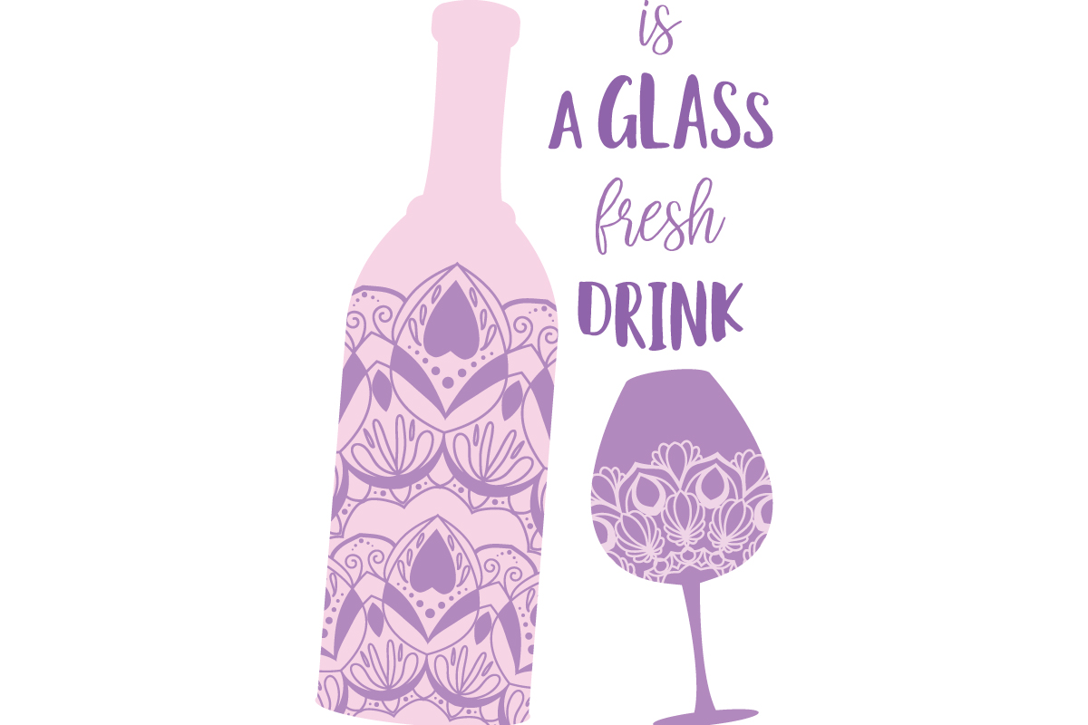 Download Free Glass Wine And Bottle Angela For Party Graphic By Stockfloral for Cricut Explore, Silhouette and other cutting machines.