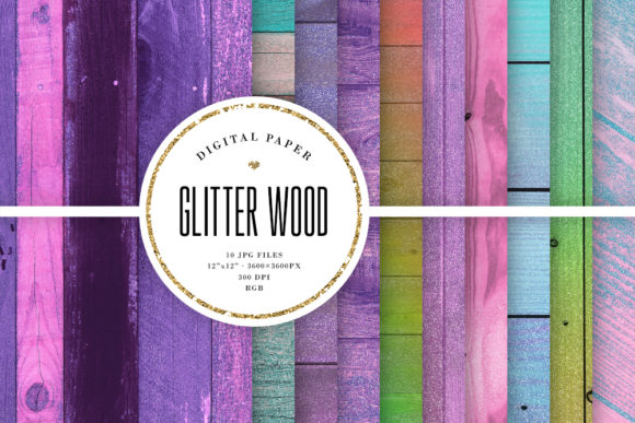Glitter Wood, Colorful Wooden Textures Graphic Textures By Sabina Leja