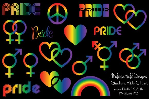 Gradient Rainbow Pride Clipart Graphic Icons By Melissa Held Designs