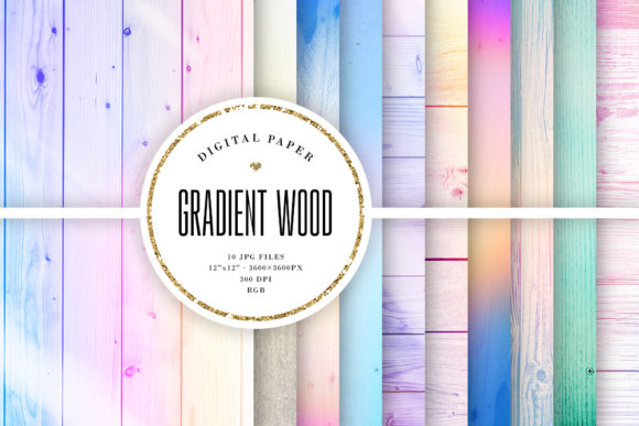 Print on Demand: Gradient Wood, Pastel Wood Backgrounds Graphic Backgrounds By Sabina Leja