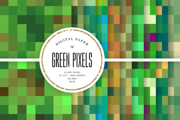 Print on Demand: Green Pixels Mosaic - Seamless Patterns Graphic Backgrounds By Sabina Leja