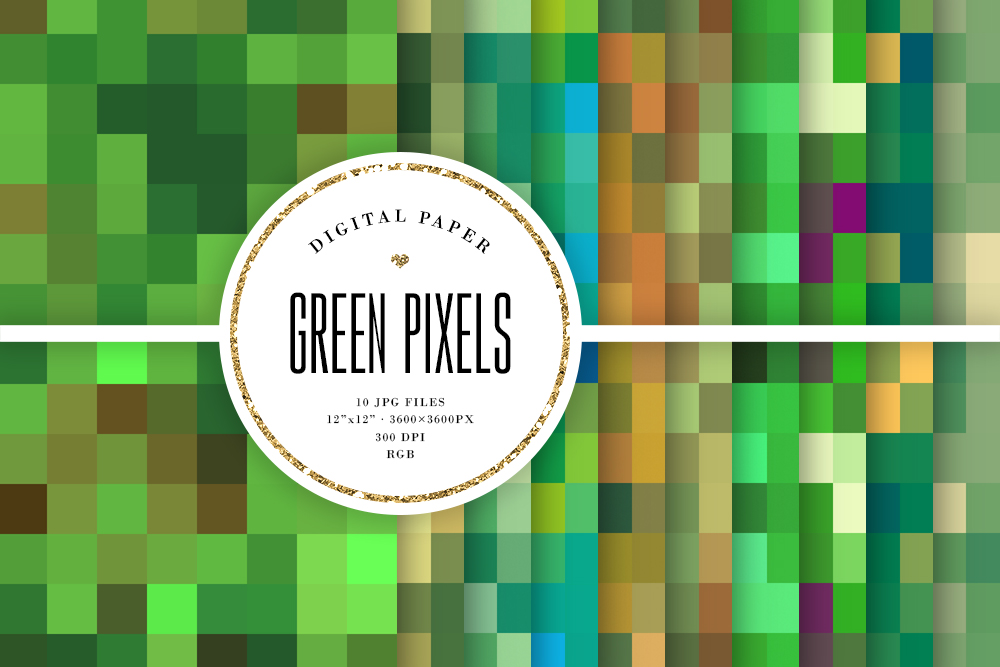 Download Free Green Pixels Mosaic Seamless Patterns Graphic By Sabina Leja for Cricut Explore, Silhouette and other cutting machines.