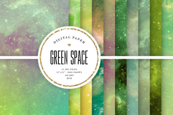 Print on Demand: Green Space Digital Paper - Green Galaxy Graphic Backgrounds By Sabina Leja