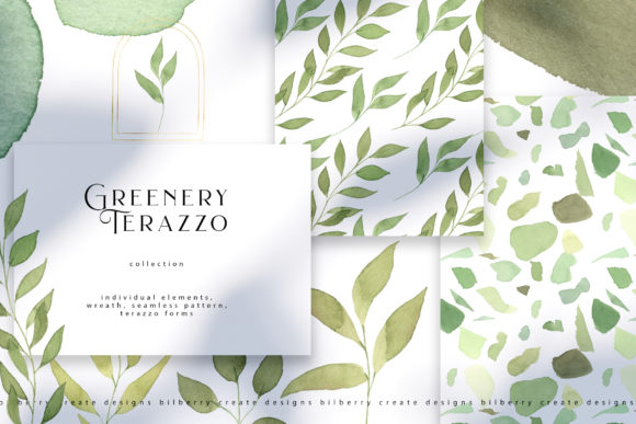 Greenery Terazzo Graphic Illustrations By BilberryCreate