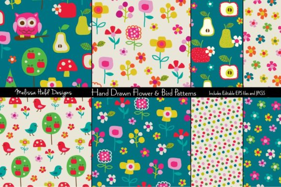 Download Free Hand Drawn Flower Bird Patterns Graphic By Melissa Held for Cricut Explore, Silhouette and other cutting machines.