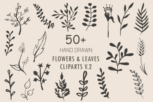 Print on Demand: Handmade Flowers & Leaves Cliparts V.2 Graphic Illustrations By Creative Tacos