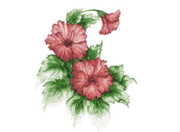 Hibiscus Single Flowers & Plants Embroidery Design By Red Moon Gardens - Image 1