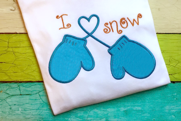 I Heart Snow Winter Mittens Applique Winter Embroidery Design By DesignedByGeeks