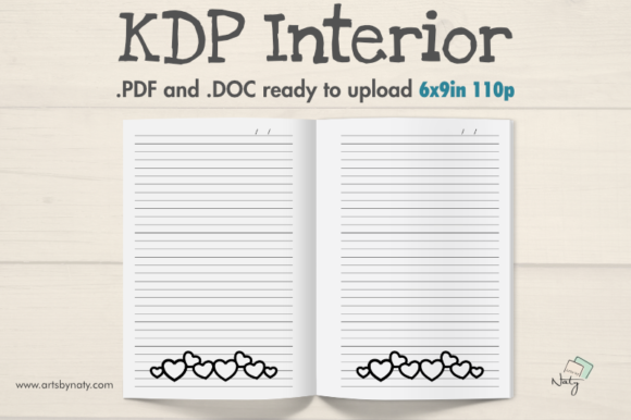 Print on Demand: Lined Journal with Hearts to Color Graphic KDP Interiors By artsbynaty