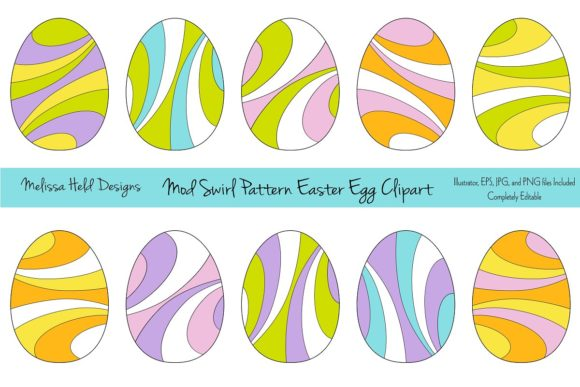 Download Free Mod Swirl Pattern Easter Egg Clipart Graphic By Melissa Held for Cricut Explore, Silhouette and other cutting machines.