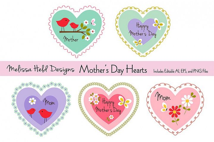 Download Free Mother S Day Hearts Graphic By Melissa Held Designs Creative for Cricut Explore, Silhouette and other cutting machines.