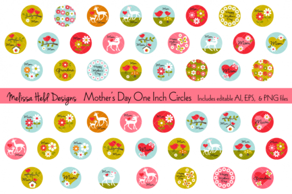 Mothers Day One Inch Circles Graphic Illustrations By Melissa Held Designs
