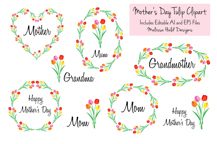 Download Free Mother S Day Tulip Clipart Graphic By Melissa Held Designs for Cricut Explore, Silhouette and other cutting machines.