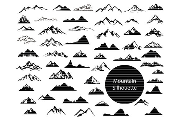 Print on Demand: Mountains Silhouette Clip Art Bundle Graphic Crafts By MeshaArts